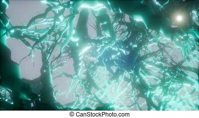 intérieur, neurone, voyage, cellule, par, cerveau, réseau