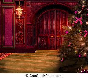 intérieur, noël, toile de fond, violet