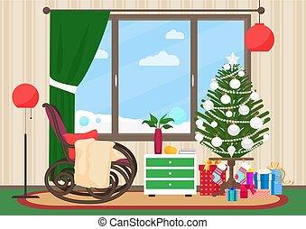 intérieur, nouveau, hiver, chaise, illustration., livingroom, noël, paysage, vecteur, plat, dehors., arbre., année, balancer