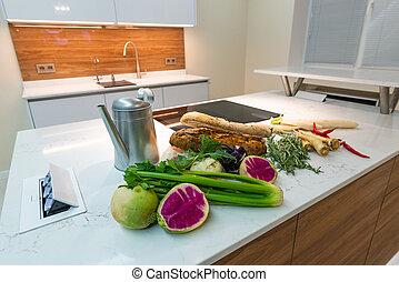 intérieur, nouveau, home., luxe, cuisine