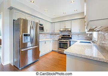 intérieur, nouvelle maison, cuisine, luxe