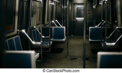 intérieur, nouvelle voiture, vide, york, métro