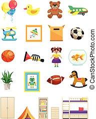 intérieur, objets, ensemble, enfants, salle