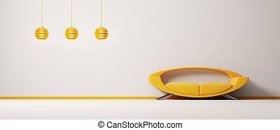 intérieur, orange, sofa, 3d