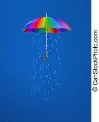 intérieur, parapluie, pluie