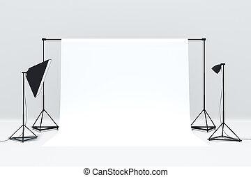 intérieur, photo, blanc, studio
