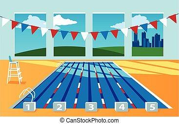 intérieur, piscine, natation