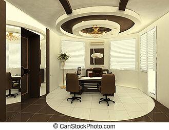 intérieur, plafond, construction, bureau