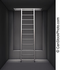intérieur, plafond, trou, échelle, gris