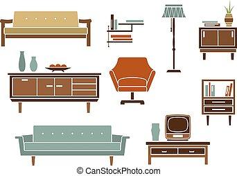 intérieur, plat, accessoires, meubles