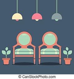 intérieur, plat, conception, chaises, vendange