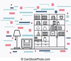 intérieur, plat, conception, linéaire, illustration