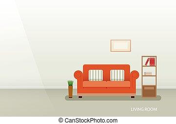 intérieur, plat, conception, salle, vivant