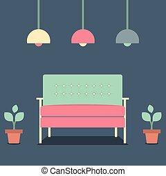 intérieur, plat, conception, sofa., vendange