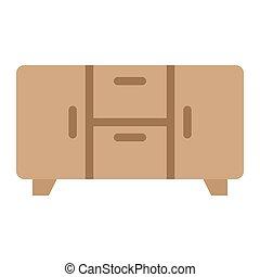 intérieur, plat, icône, buffet, meubles