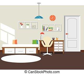 intérieur, plat, moderne, conception, chambre à coucher