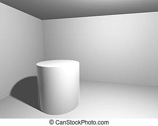 intérieur, plate-forme, blanc, render
