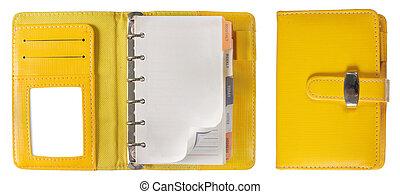 intérieur, portables, couverture, spirale, relieur, papier, orange, page