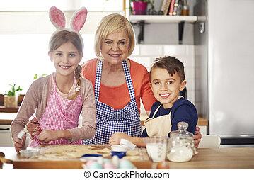 intérieur, portrait, cuisson, famille, cuisine