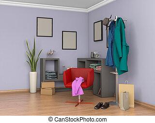 intérieur, purple.3d, salle, illustration