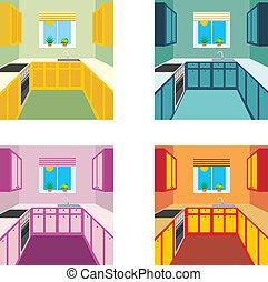 intérieur, quatre, couleur, cuisine