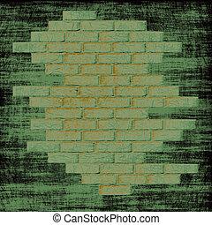 intérieur., résumé, fond, mur, briques, grungy, vert