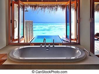 intérieur, recours, plage, luxe
