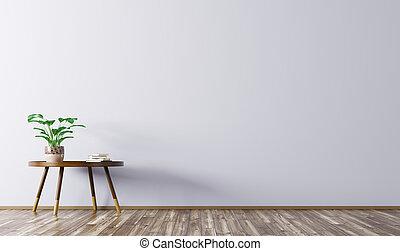 intérieur, rendre, café, 3d, table