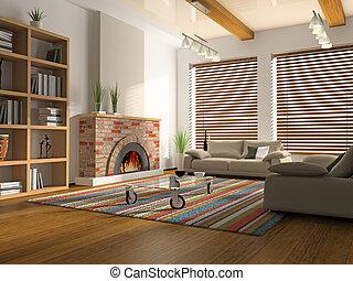 intérieur, rendre, cheminée, drawing-room, 3d