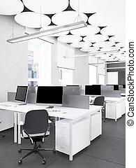 intérieur, rendre, moderne, bureau