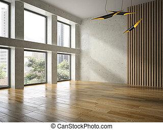 intérieur, rendre, salle, vide, 3d
