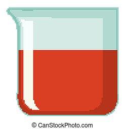 intérieur, rouges, gobelet, chimique