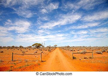 intérieur, route, australie