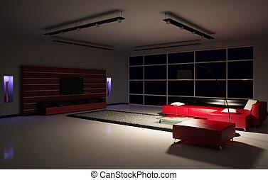 intérieur, salle, 3d, vivant