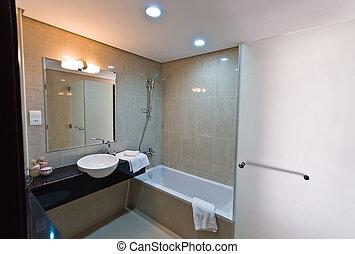 intérieur, -, salle bains, appartement, moderne