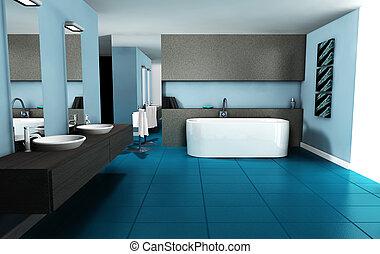 intérieur, salle bains, conception