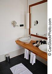 intérieur, salle bains, moderne, détail
