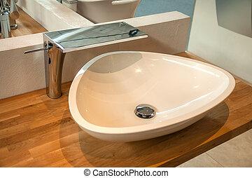 intérieur, salle bains, moderne, robinet, sombrer