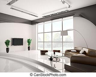 intérieur, salle de séjour, 3d