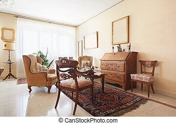 intérieur, salle de séjour, classique