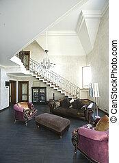 intérieur, salle de séjour, escalier