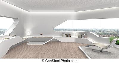 intérieur, salle de séjour, futuriste