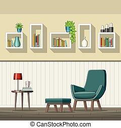 intérieur, salle de séjour, illustration, équipement