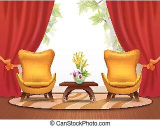 intérieur, salle de séjour, illustration, dessin animé