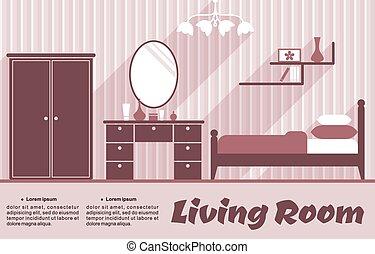 intérieur, salle de séjour, plat