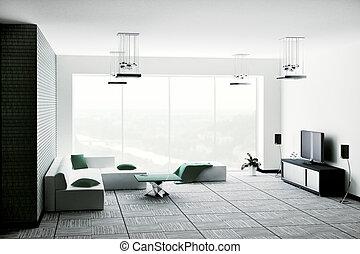 intérieur, salle de séjour, render, 3d