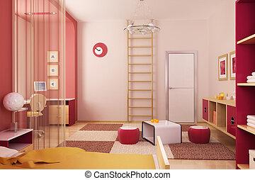 intérieur, salle, enfants
