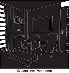 intérieur, salle, habiter moderne