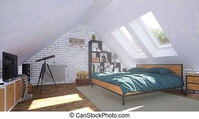 intérieur, salle, moderne, chambre à coucher, grenier, clair, 3d