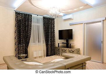 intérieur, salle, moderne, dessin
